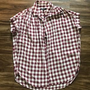 Madewell Courier Drapey Shirt size XXS gingham